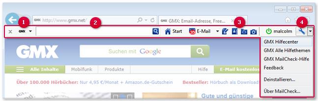 MailCheck als Symbolleiste