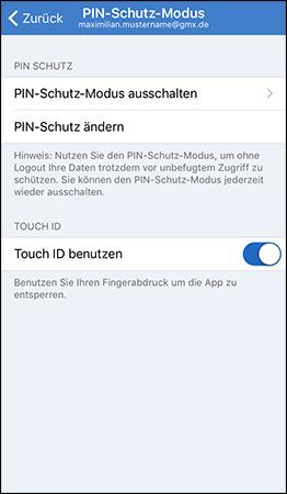 PIN-Schutz-Modus anschalten