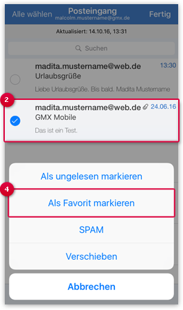 E-Mail als Favorite markieren