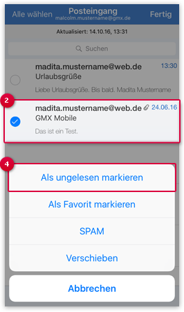 E-Mail als gelesen/ ungelesen markieren
