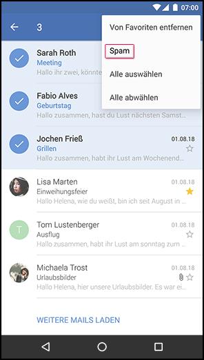 Mail als Spam markieren