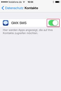 Kontaktanzeige für GMX SMS