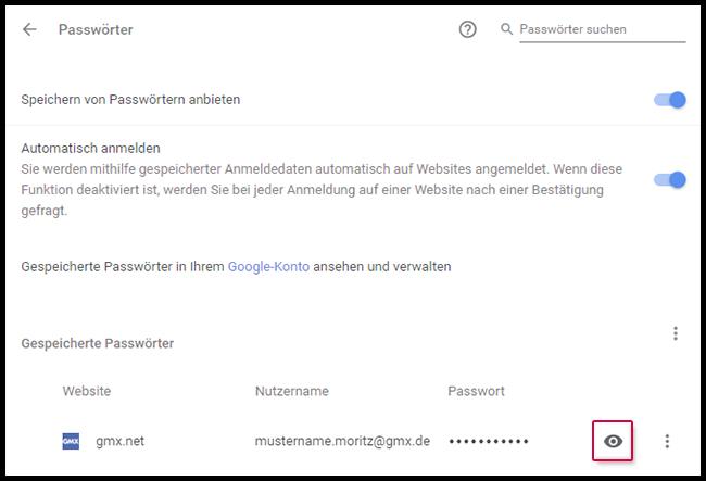 gespeicherte Passwörter anzeigen