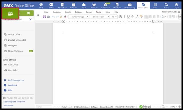 Neues Dokument im Online-Office erstellen