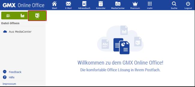 Neue Präsentation im Online-Office erstellen