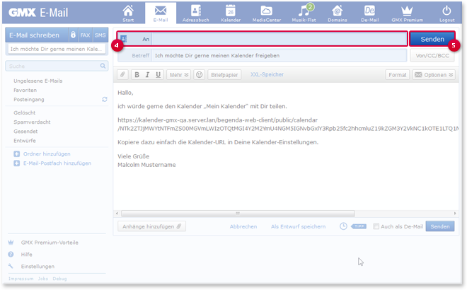 Kalender-URL per E-Mail versenden