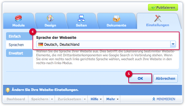 Website-Sprache wählen
