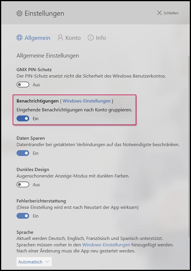 App-Benachrichtigung ein-/ausschalten