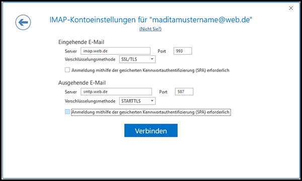 IMAP-Kontoeinstellungen vornehmen