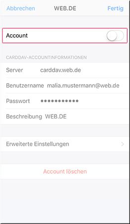 CardDAV-Account temporär deaktivieren
