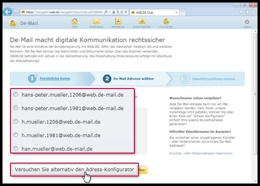 DE-Mail-Adresse auswählen