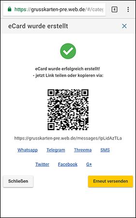 eCard wurde erstellt