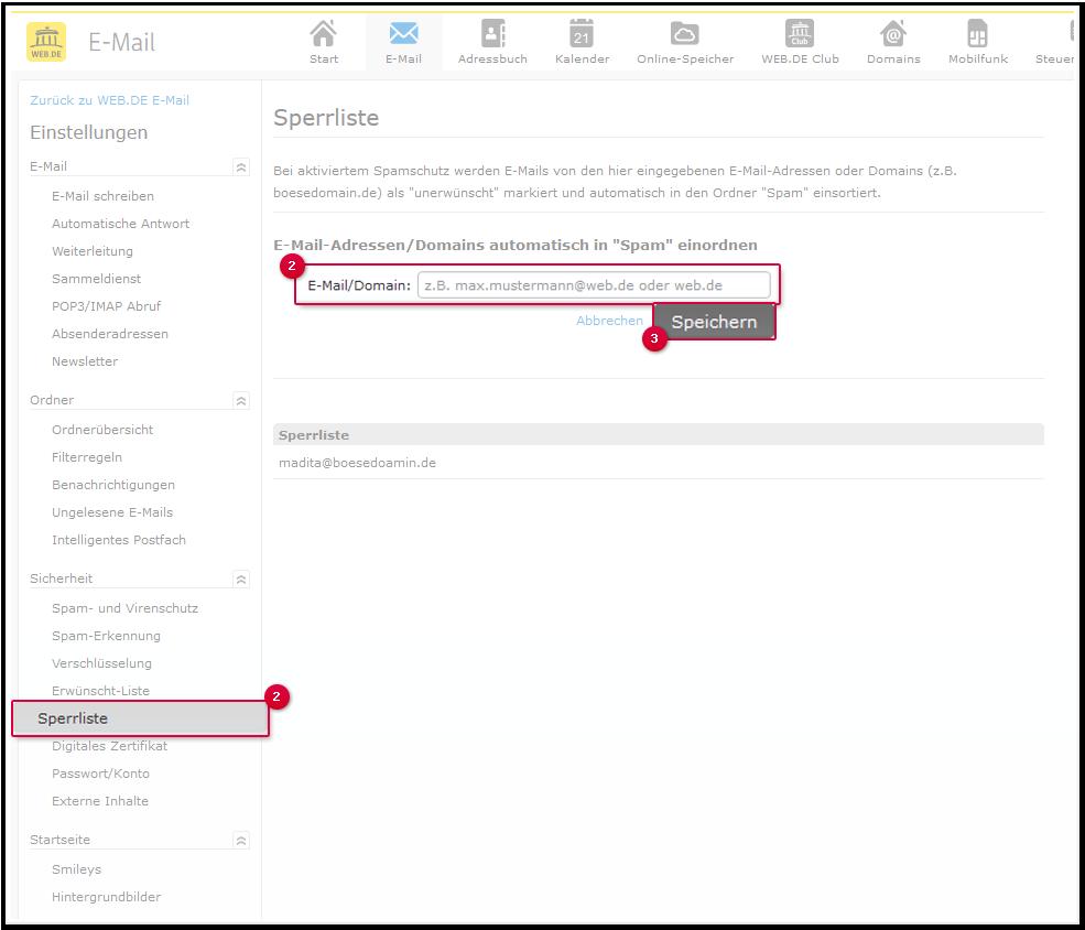 E-Mail-Adresse oder Domain in die Blacklist eintragen