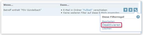 Filterregel deaktivieren