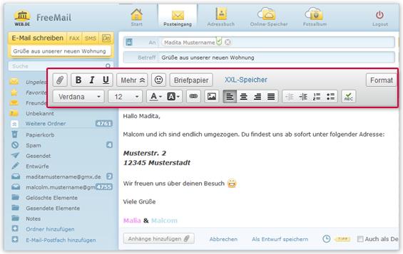 Eine Design-Mail bietet Ihnen zahlreiche Gestaltungsmöglichkeiten