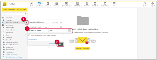 Legen Sie fest, wie viele E-Mails pro Seite angezeigt werden.