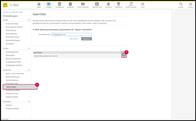 E-Mail-Adresse oder Domain aus der Backlist löschen