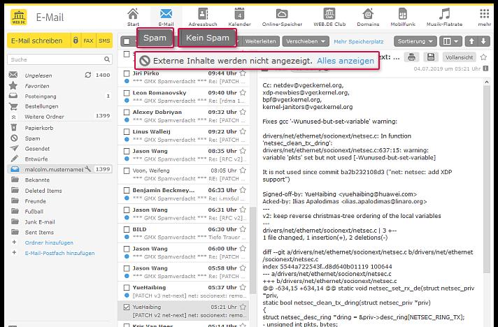 Markieren Sie Mails als Spam oder kein Spam