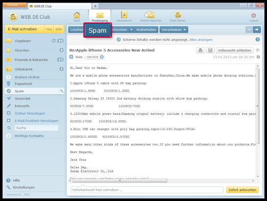 """So markieren Sie eine E-Mail als """"Spam"""""""