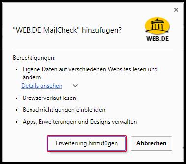 Google Chrome Berechtigungen zur Nutzung von MailCheck