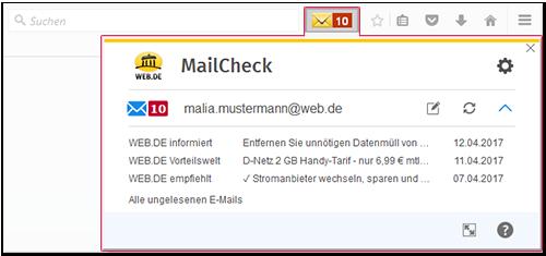 WEB.DE MailCheck im minimierten Modus
