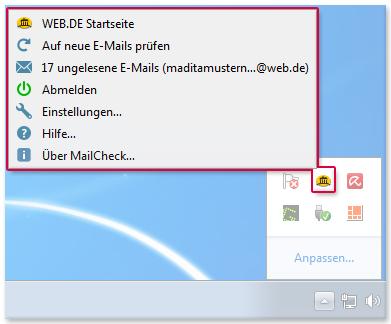 MailCheck über den Infobereich verwenden