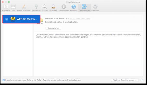 MailCheck aktivieren