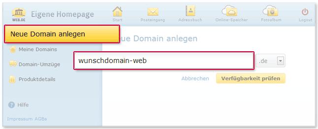 Neue Domain anlegen