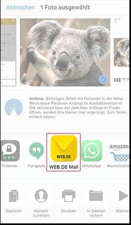 Datei mit Mail App teilen