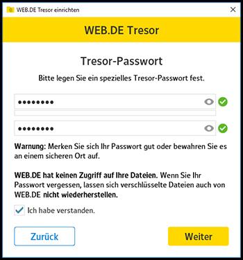 Tresor-Passwort vergeben