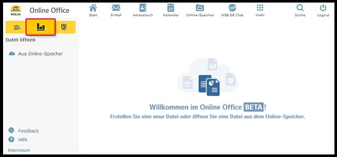 Neue Tabelle im Online-Office erstellen