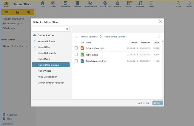 Datei im Online-Office-Editor öffnen