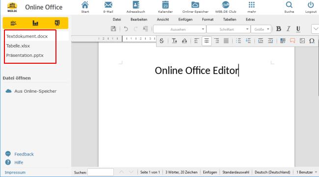 Mehrere Dateien im Online-Office-Editor öffnen