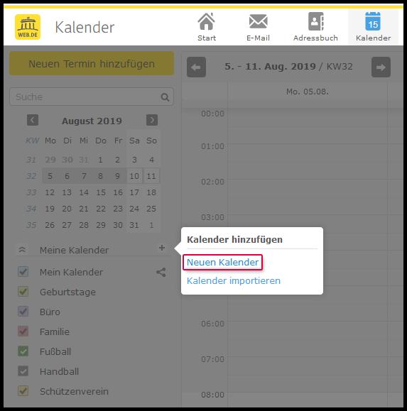 Kalender hinzufügen