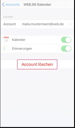 CalDAV-Account löschen