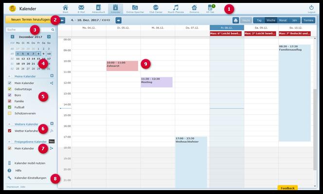 Kalenderübersicht