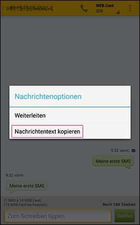 SMS-Text kopieren