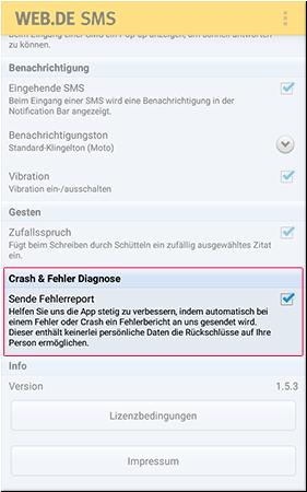 Automatisches Senden von Fehlerreports aktivieren/ deaktivieren