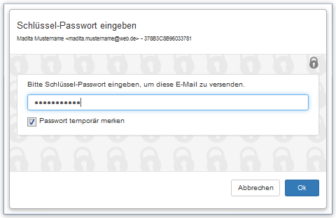 Schlüssel-Passwort eingeben
