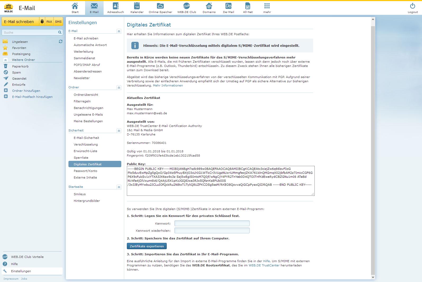 S/MIME-Zertifikate herunterladen