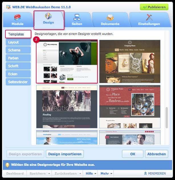 Website-Thema wählen
