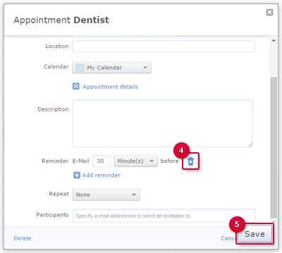 Deleting an Appointment Reminder