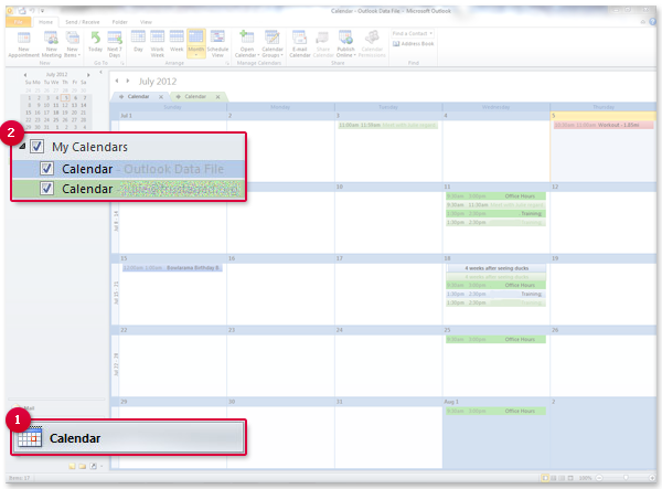 Exporting an Outlook Calendar