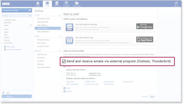 how to change an outlook account from pop3 to imap
