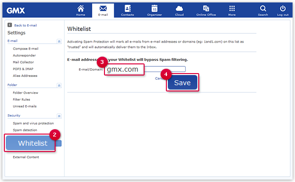 Entering an E-mail Address or Domain in the Whitelist