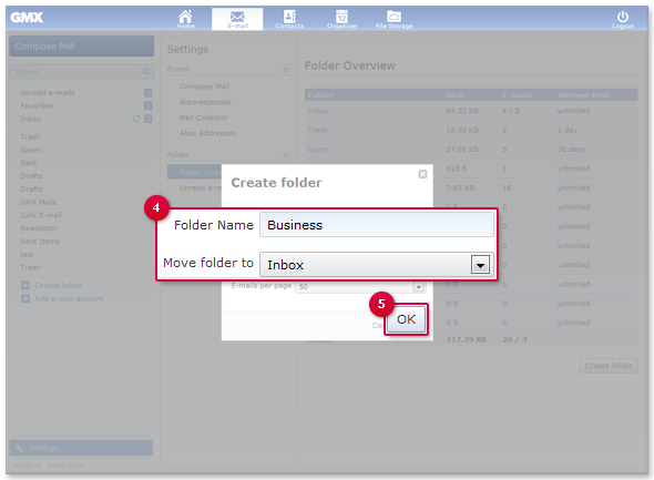 Create your own folders, for example to sort newsletters into a separate folder.