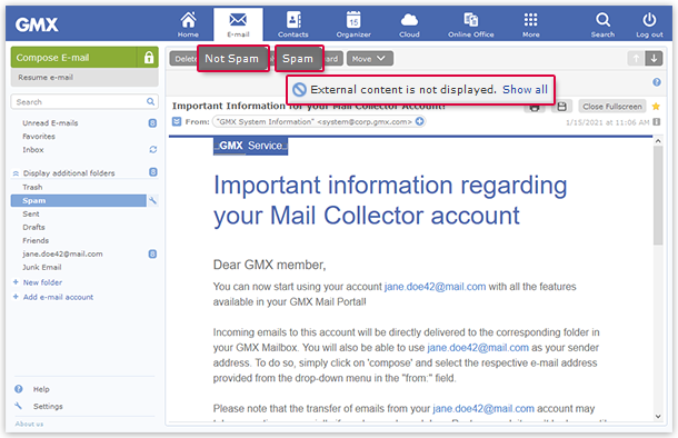 Mark email as Spam or Not Spam