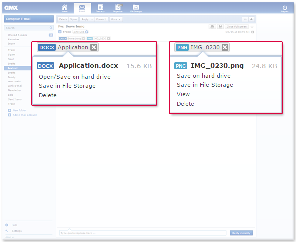 Manage attachments using File Storage, Online Office or your computer.