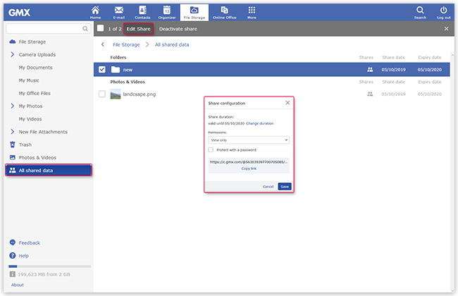 Overview of shared folders