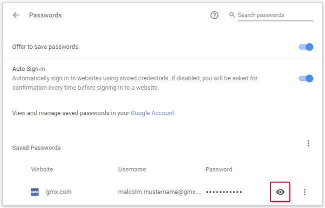 show saved passwords
